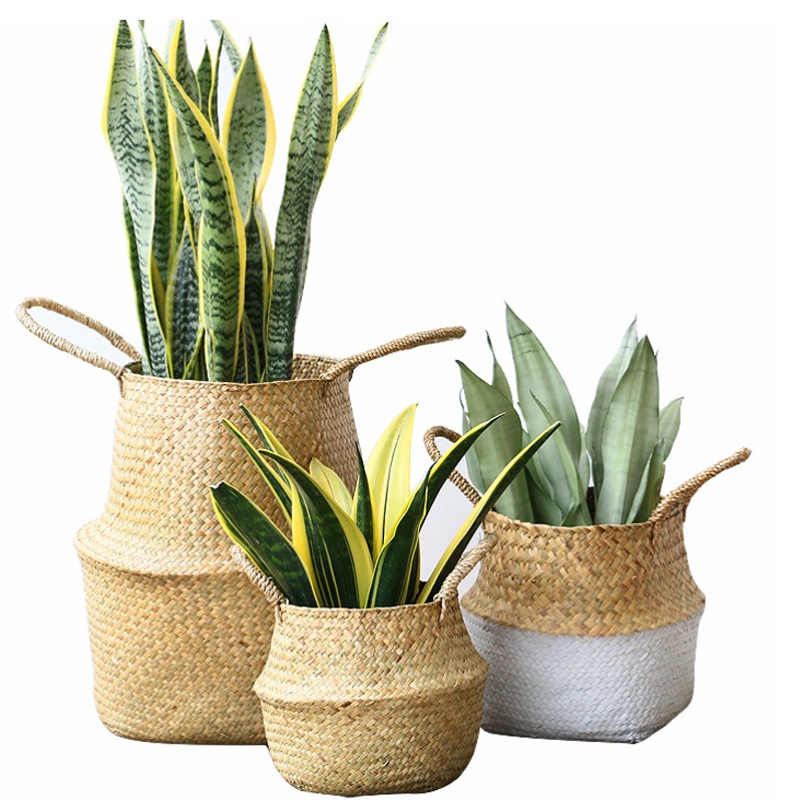 Handmade Foldable Natural Seagrass Woven Storage Pot Garden Flower Vase Hanging Basket With Handle Storage Bellied Basket
