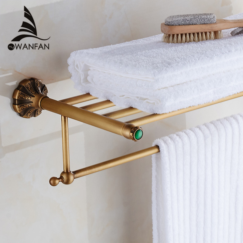 ФОТО New arrival Free Shipping!Bathroom Accessories Classic Antique Brass Bathroom Towel Rack Bar Shelf (Wall Mounted) ET-7913