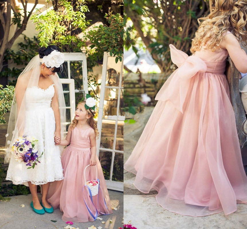 2019 Cute Flower Girl Dresses For Weddings Blush Organza Sash Bow Jewel A-Line Floor Length Cheap Kids Formal Party Dress