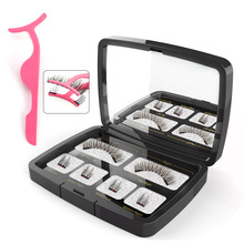 VICILEY 6pcs/pair magnetic eyelashes with 2 magnets handmade natural false gift box mirror and tweezer SCT06-3