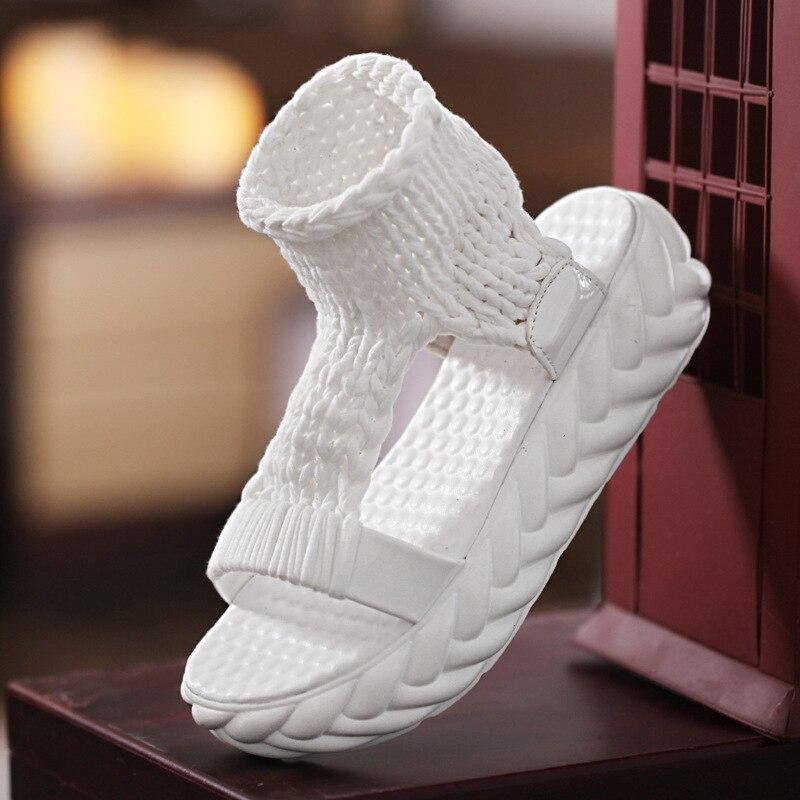 Вязаные сандалии, женские сандалии-гладиаторы на платформе, модная женская обувь, однотонные, повседневные, летние, на плоской подошве,, с открытым носком, вязаные вьетнамки - Цвет: white