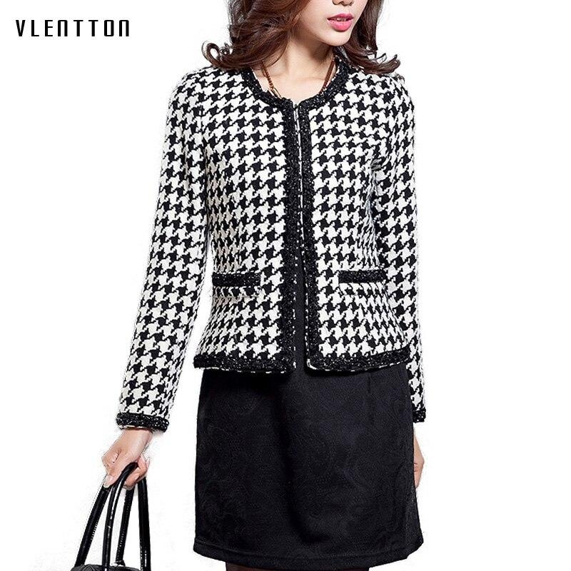 2018 NEW Autumn Winter female jacket Vintage Plaid Slim Tweed coat Plus size Casual O neck
