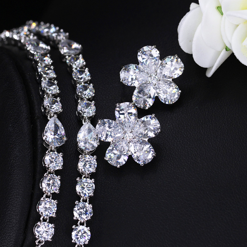 Image 5 - CWWZircons High Quality Bridal Wedding Party Jewelry Dazzling White Cubic Zirconia Flower Necklace Earrings Sets For Women T300Bridal Jewelry Sets   -