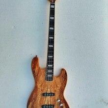 Высокое качество, FDJB-5011, деревянный цвет, твердый пепельный корпус, стеганый клен, покрытие из шпона, 4 струны, Электрический джаз бас
