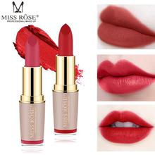 купить Miss Rose Brand Matte Lipstick Gold Tube Lipstick for Lips Cosmetic Makeup Women Matte Lipstick Waterproof Red Lip Lipsticks в интернет-магазине