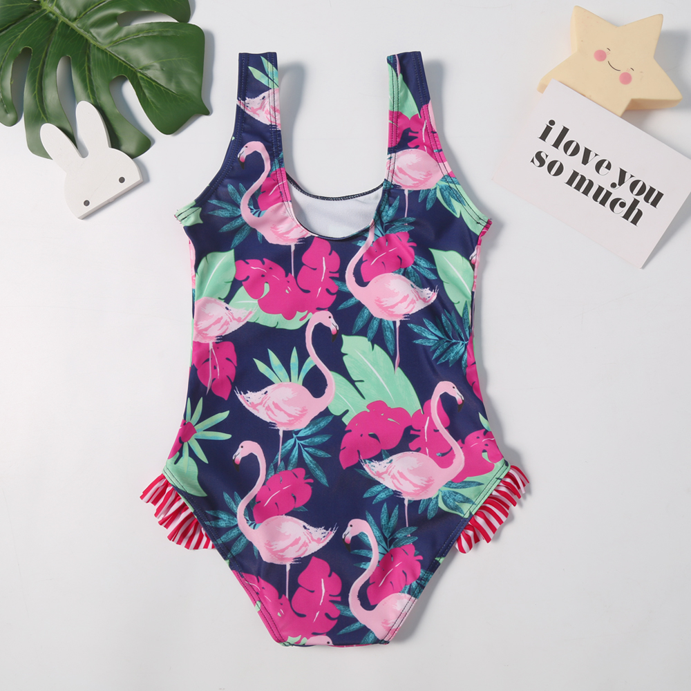 2019 New Baby Swimsuit Girls One Piece Swimwear Classic Children Bodysuit Flamingo Print Striped Tropical Swimsuit for Girl in Children One Piece Suits from Sports Entertainment