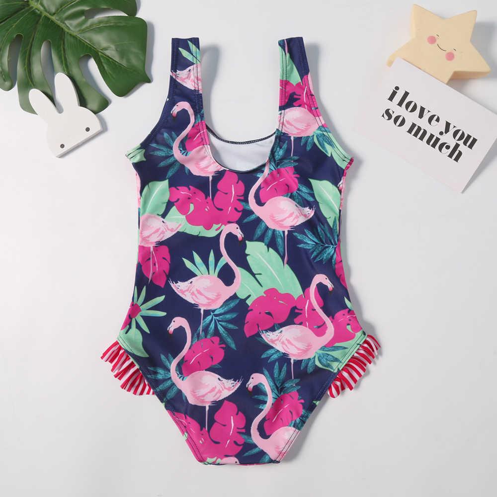 2019 Nieuwe Baby Badpak Meisjes Een Stuk Badmode Klassieke Kinderen Bodysuit Flamingo Print Gestreepte Tropische Badpak voor Meisje