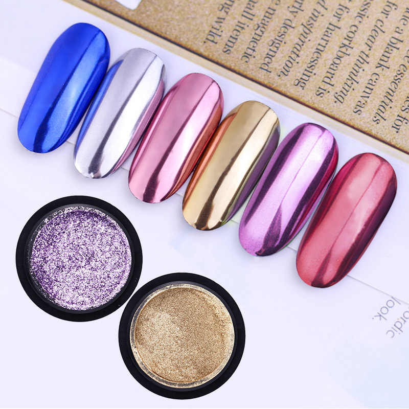 Saviland UV Kuku Seni Cermin Titanium Bubuk Kit Gemerlap Efek Metalik Bersinar Mawar Emas Perak Gel Manikur Dekorasi Set