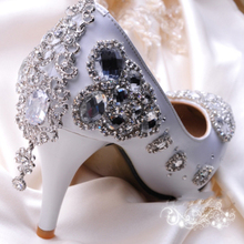 Free Shipping White Crystal Woman Wedding Dress Shoes Woman Bridal Shoes Lady Rhinestone Party Prom Shoes High Heel Shoes