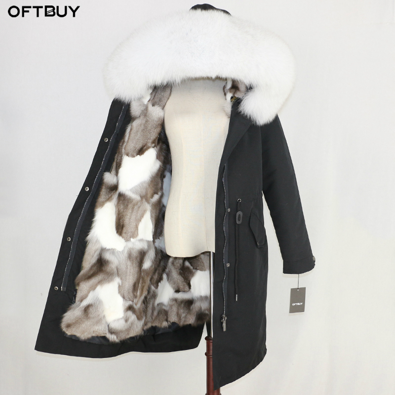 OFTBUY X-long Waterproof Parka Real Fur Coat Winter Jacket Women Natural Raccoon Fur Collar Fox Fur Liner Warm Thick Streetwear