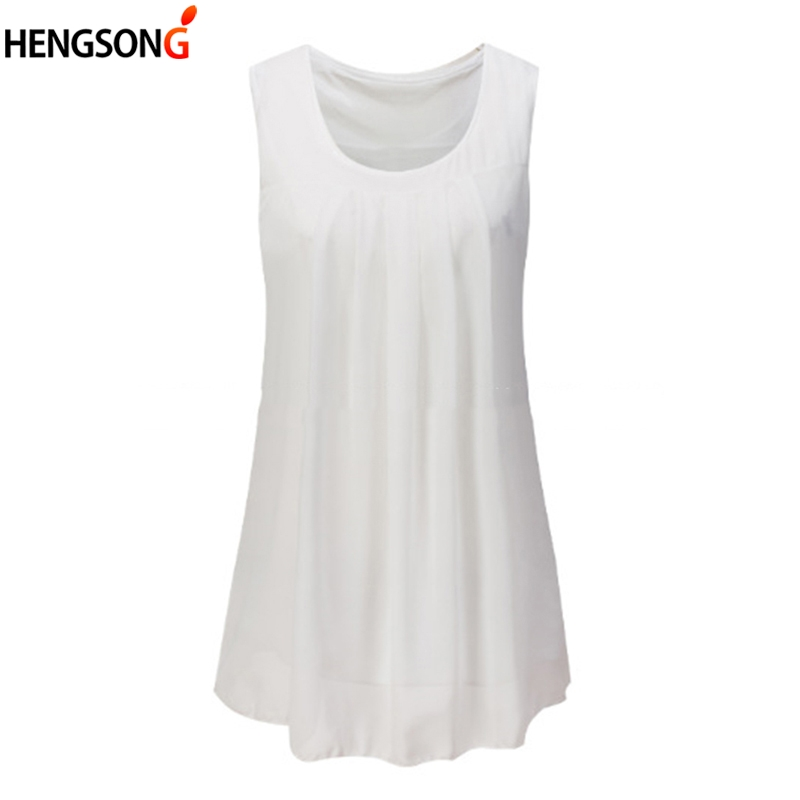 Vest Top-Tank Camisole Elegant Women Summer Casual Sleeveless Solid New Tees Pleated-Tunic