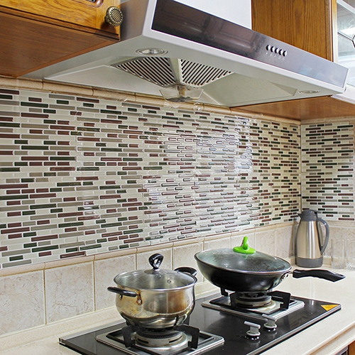 4Pcs Home Decor 3D Tile Pattern Kitchen Backsplash Stickers Mural Wall  Decals(China (Mainland Photo