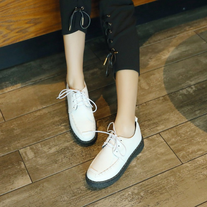 Size 34 45 Oxford Shoes For Women Shoes Woman Leather Martin Ankle Female Casual Shoes Flats Spring Autumn Lace Up Zapatos Mujer in Women 39 s Flats from Shoes
