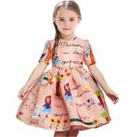 Pink Girls Dress Graffiti Children Clothes Full Paint Girl One-Piece Dresses Sleeved Jumpers Doll Top Quality 3 4 5 6 7 8 Year