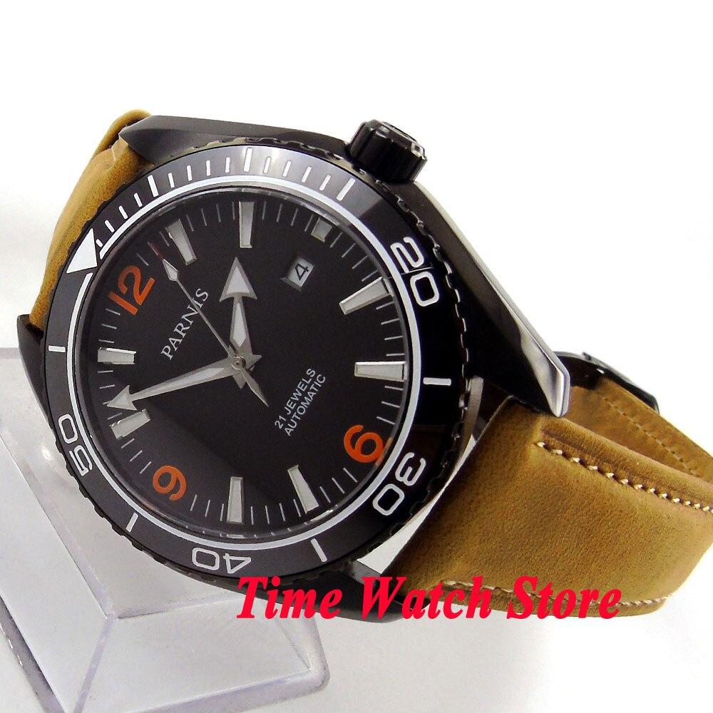 Parnis 45mm black dial PVD case Sapphire Glass deployant clasp 21 jewels MIYOTA Automatic movement Men's watch 691 цена и фото