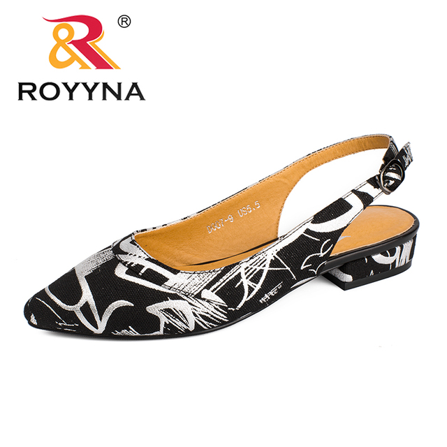 ROYYNA New Fashion Style Women Pumps Pointed Toe Women Dress Shoes Square Heels Lady Wedding Shoes Comfortable Free Shipping