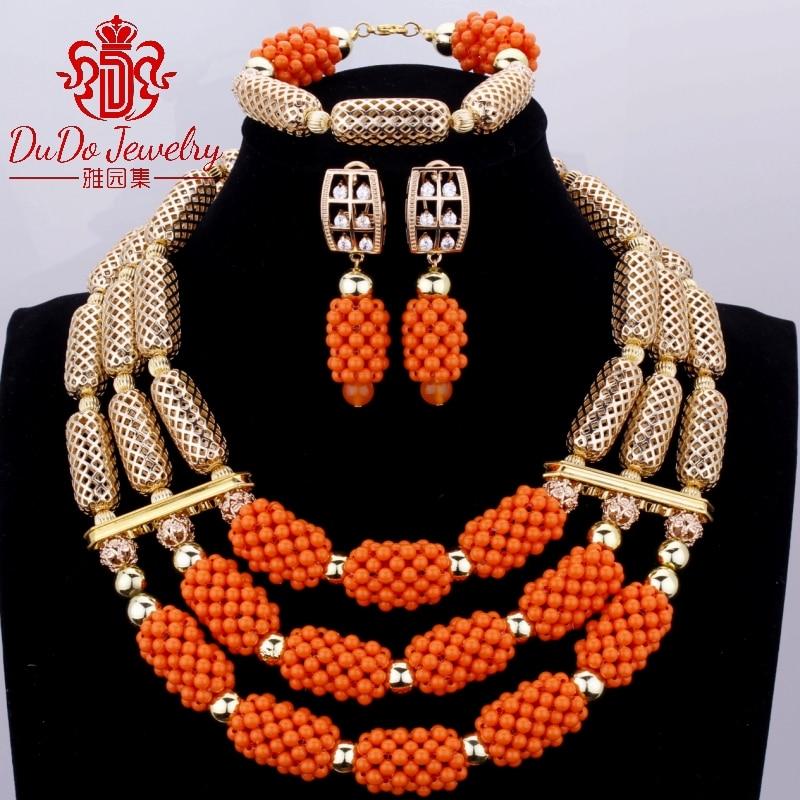 2017 новые коралловые ювелирные наборы нигерийский Дубай оранжевое ожерелье наборы из бисера африканские Свадебные Ювелирные наборы бренд б... - 3
