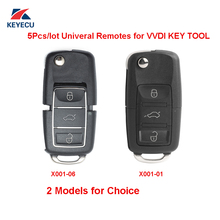 XHORSE Pack of 5, X001 Series Black Color for VW B5 Style Universal Remote Key Fob 3 Button for VVDI Key Tool