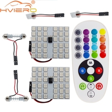 цена на T10 RGB 5050 36SMD Auto Led remote control Rgb car led panel interior Auto lights Reading Dome Festoon BA9S Adapter DC 12v Light