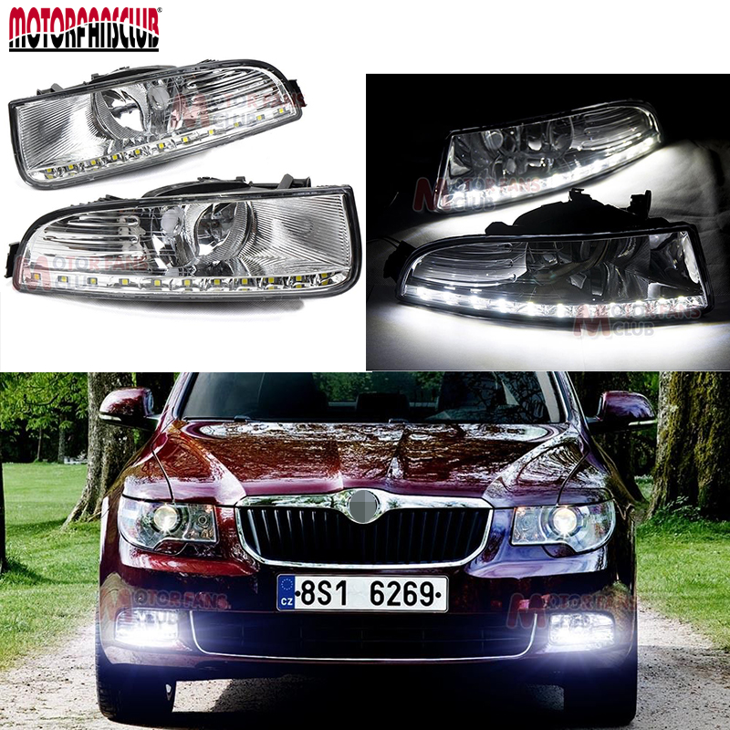 200lm~300lm LED Daytime Running Light For Skoda Superb Fog Lamp DRL 2009 2010 2011 2012 2013 hot sale abs chromed front behind fog lamp cover 2pcs set car accessories for volkswagen vw tiguan 2010 2011 2012 2013