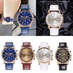 Новые модные женские Кварцевые аналоговые наручные часы с кожаным ремешком