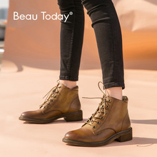 BeauToday Ankle Boots Women Genuine Cow Leather Round Toe Lace-Up Top Brand Winter Female Shoes 03277