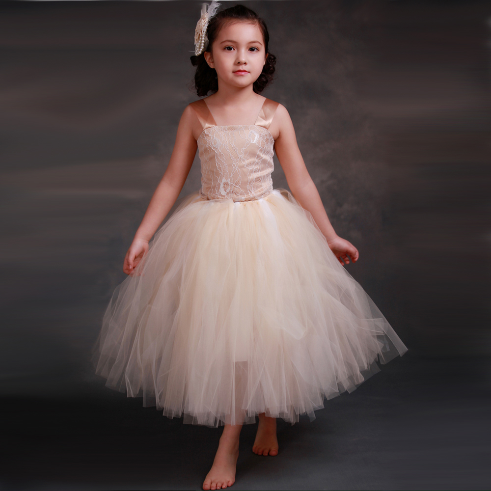 Vintage Girls Princess Tutu Dress Kids Lace Tulle Flower Girl Dresses Champagne Wedding Pageant Ball Gowns For Girls Party Dress retail baby girls princess wedding party flower sleeveless dress kids girl bow tutu lace tulle girl dresses free shipping l 608
