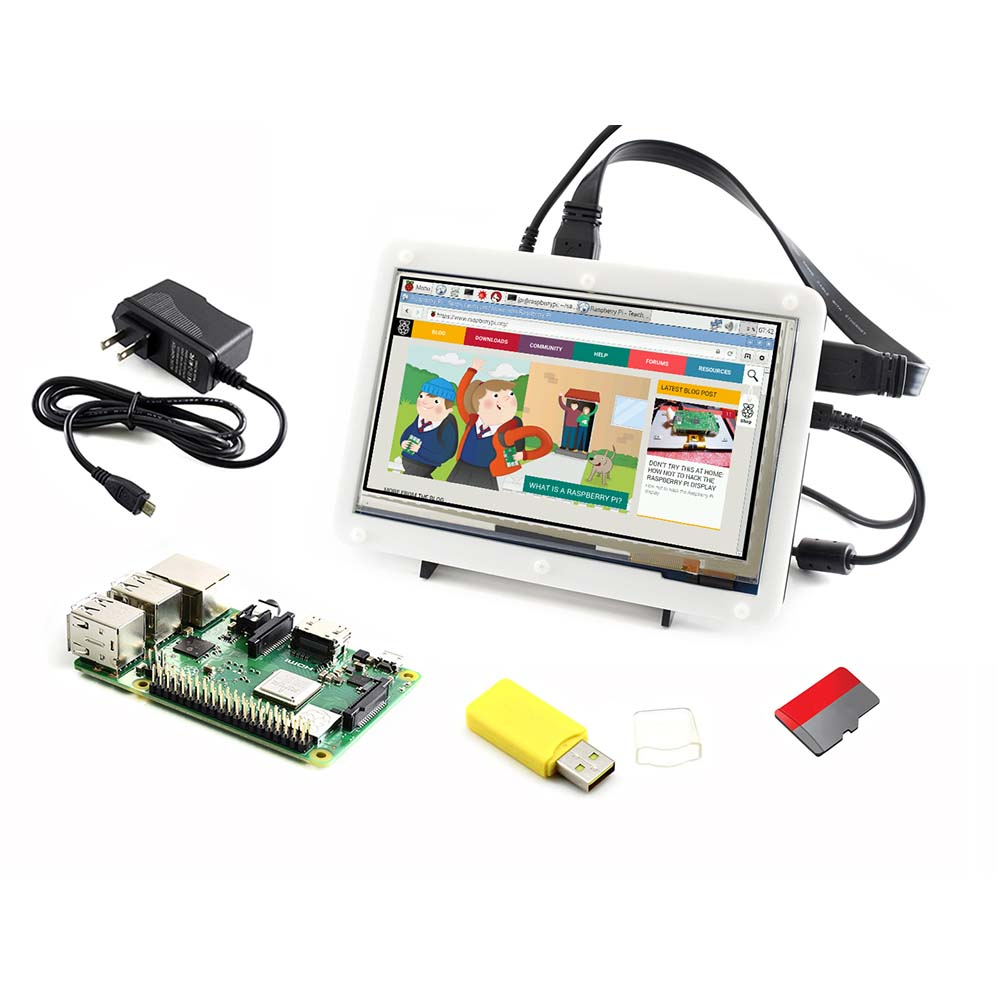3 Waveshare Raspberry Pi Modelo B +, Kit de Desenvolvimento, 7 polegada HDMI LCD (C), caso Bicolor, 16 GB cartão Micro SD, Adaptador de Energia
