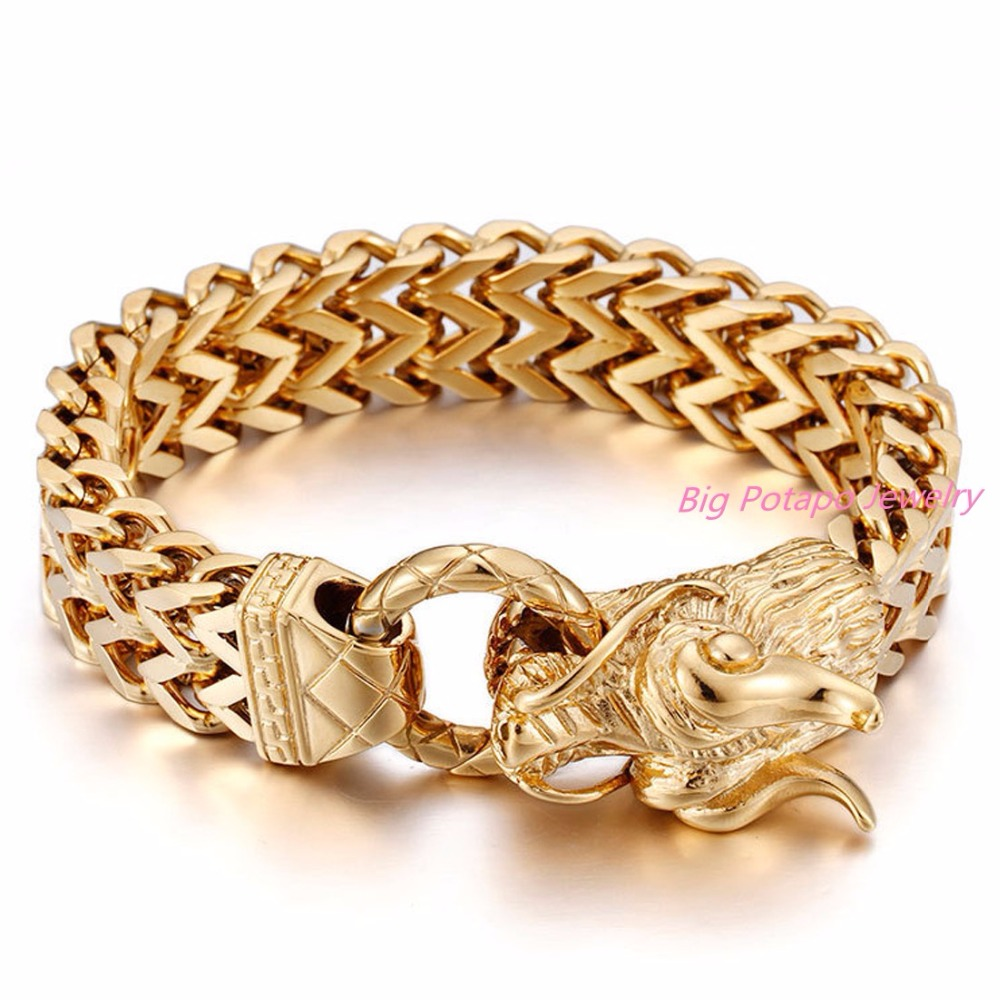 Cool Gold Tone Stainless Steel Dragon Bracelets For Men New Arrival Fashion Stainless Steel Bangle Men's Biker's Jewelry trustylan cool stainless steel dragon grain bracelets men new arrival punk rock keel mens bracelets