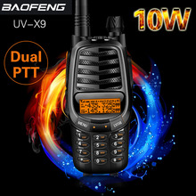 Baofeng UV X9 플러스 10 와트 강력한 워키 토키 트리플 10W/4W/1W 듀얼 PTT VHF/UHF 듀얼 밴드 10km 장거리 휴대용 햄 라디오