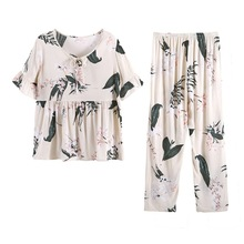 Summer 2019 pajamas women comfortable V-neck short-sleeved shorts 2 piece set bow print sweet loose wear pajama plus size