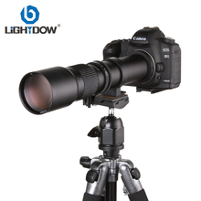 Lightdow 500mm F8.0-F16 Lens Manual Telephoto Zoom Camera Lens + T2 T Mount Adapter Ring for Cannon Nikon Sony Olmpus Cameras