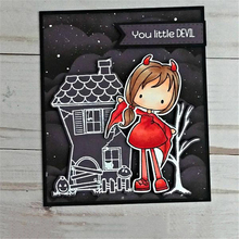 YaMinSanNiO Halloween Witch Girl Transparent Clear Stamps and Dies 2019 for Card Scrapbooking DIY Album Embossing Paper Craft