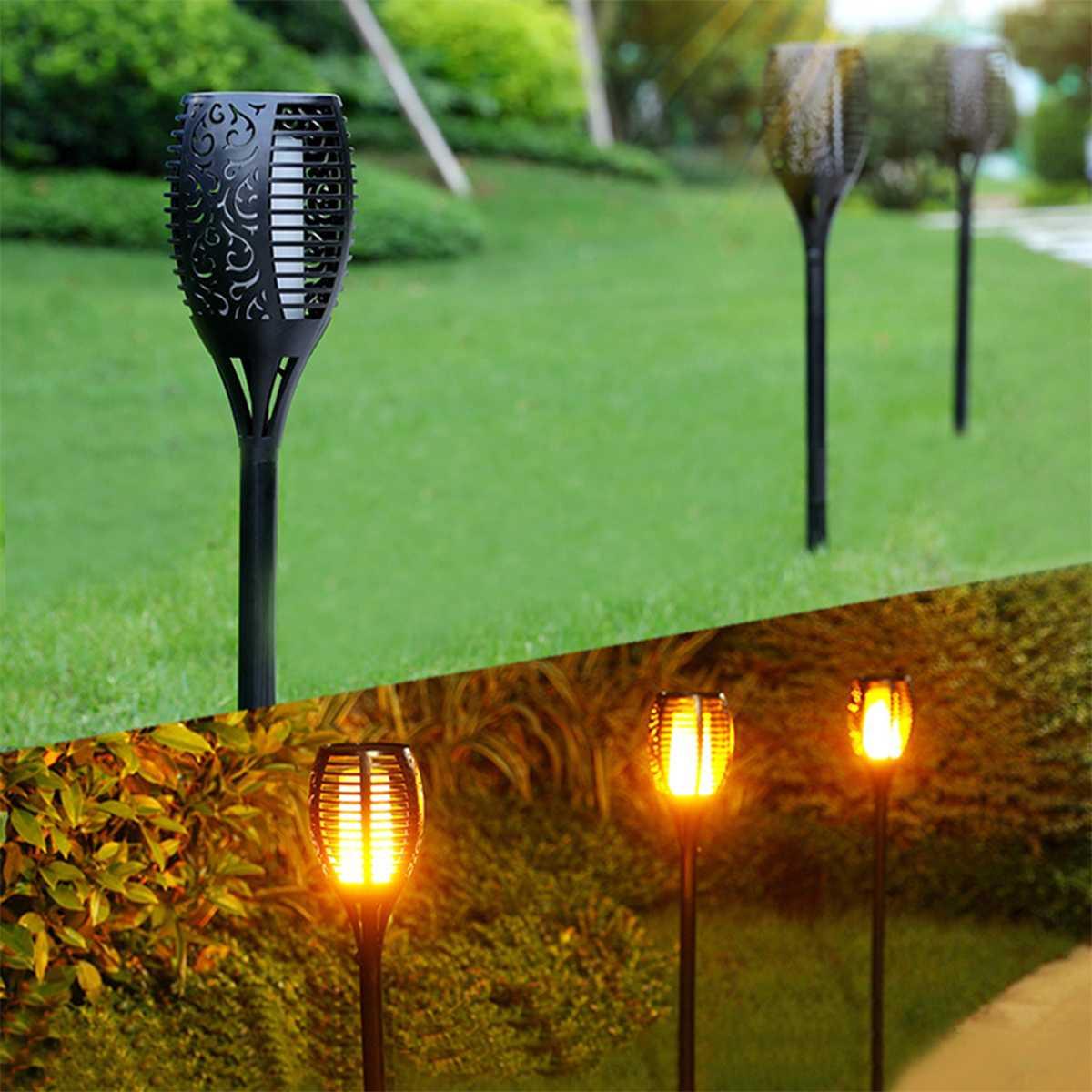 96 diod led wodoodporna światła słonecznego mocna latarka światła migotanie płomienia lampy ogrodowe krajobraz dekoracyjne oświetlenie dziedziniec lampa trawnikowa w Lampy solarne od Lampy i oświetlenie na YZKJ lighting Store