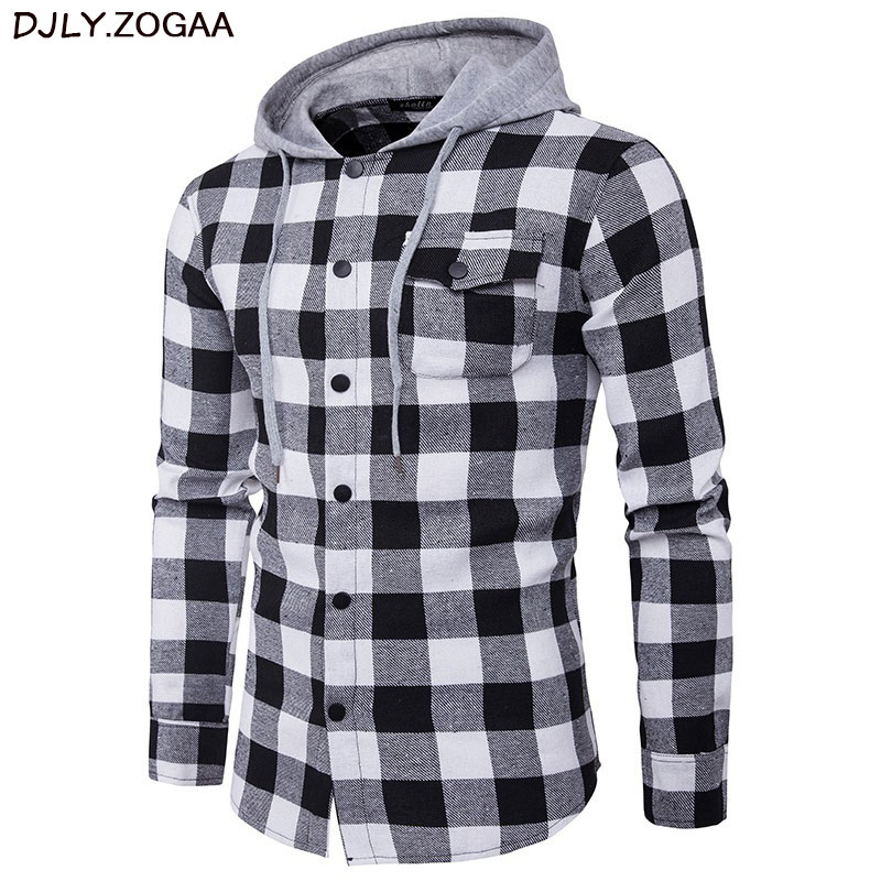 Men Plaid Casual Shirts Long Sleeve Hooded Slim Shirts Cotton Fit Styles Brand Man Clothes Plus Size Autumn Warm Plaid Tops in Casual Shirts from Men 39 s Clothing