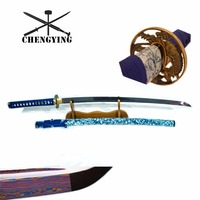 Синий Celadon фарфоровый стиль SAYA складной Катана из СТАЛИ самурайский меч espada масло закалка украшения