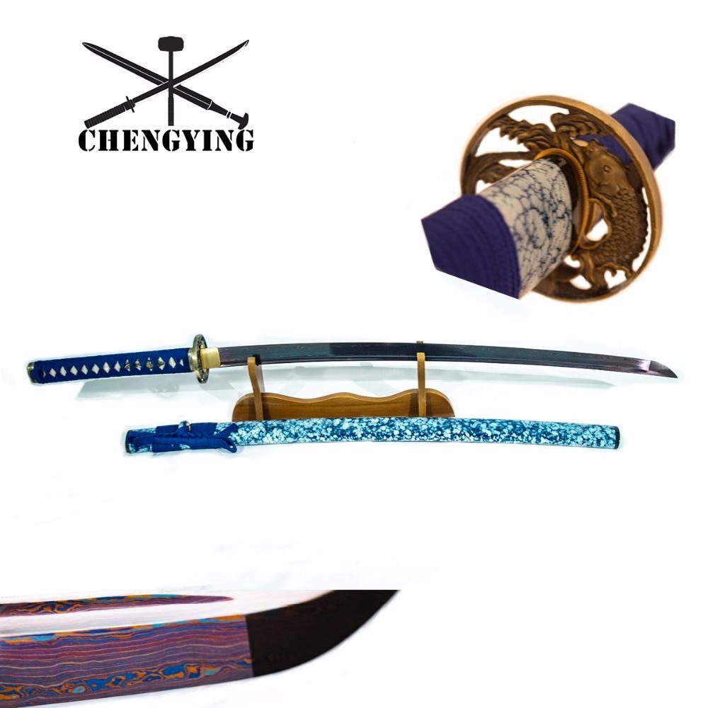 สีฟ้า Celadon Porcelain สไตล์ SAYA พับเหล็ก   quenching katana samurai combat readiness sharp-ใน ดาบ จาก บ้านและสวน บน   1