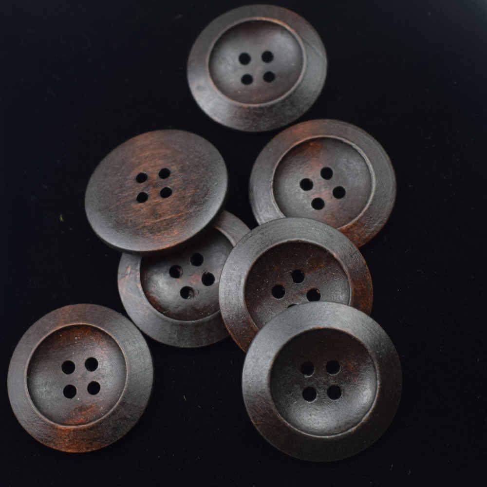 5pcs 25mm Plain Black 4-holed Classic Large Coat Buttons