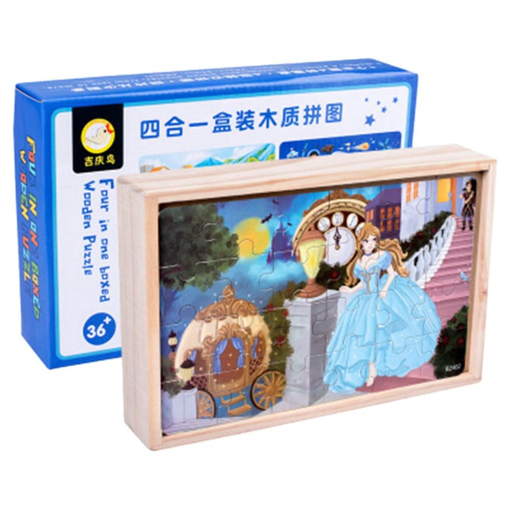 Bande dessinée 4-en-1 En Bois Jigsaw Puzzles Ensemble Gifts11 de jouets éducatifs enfants