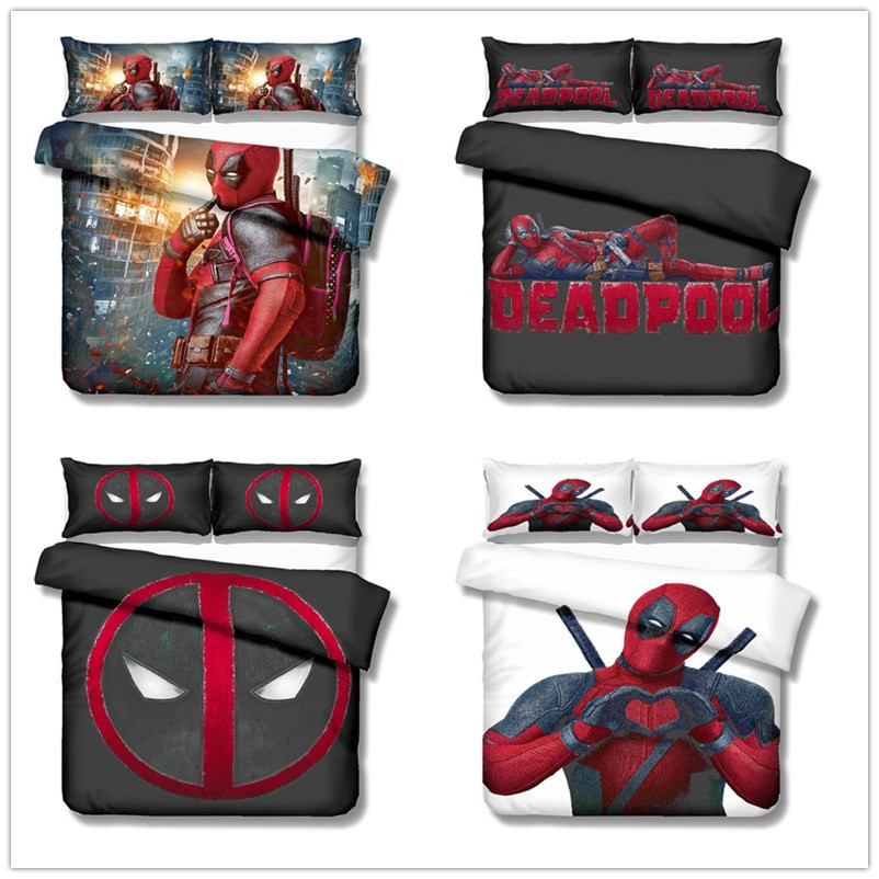 2019 New Marvel Deadpool 3D Bedding Set Adult Boy Children Room Decor Duvet Covers Pillowcases Bedclothes Bed Linen Gifts