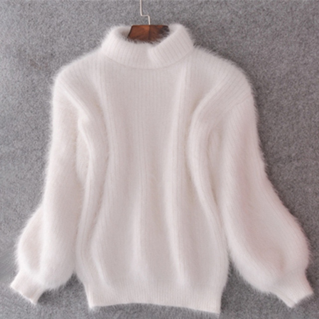 Women Winter Thick Warm Turtleneck Sweater Mohair Female Sweater Lantern  Sleeve Casual Solid Color Slim Simple e3ff81177