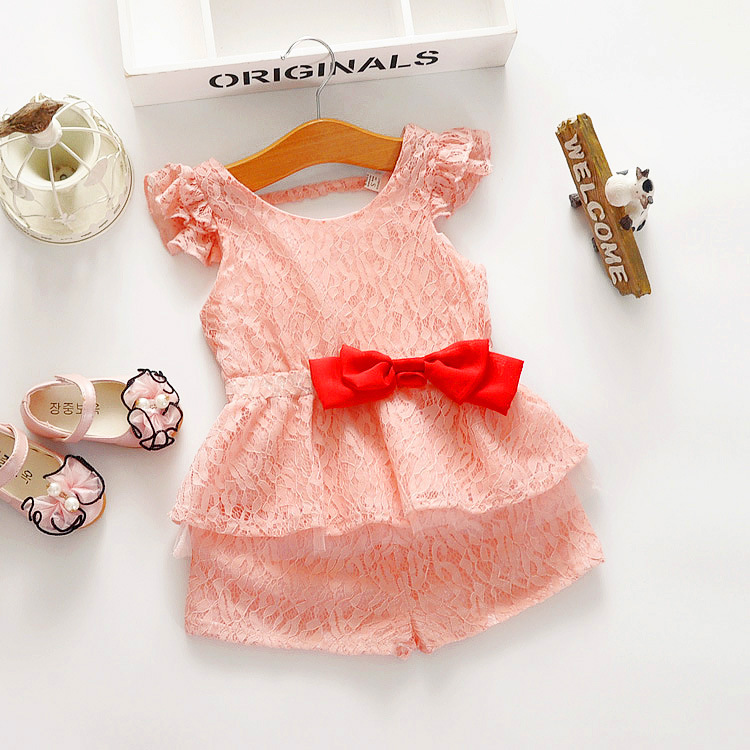 2016 summer new children girls lace fly sleeve waist bow blouse + shorts two-piece suit