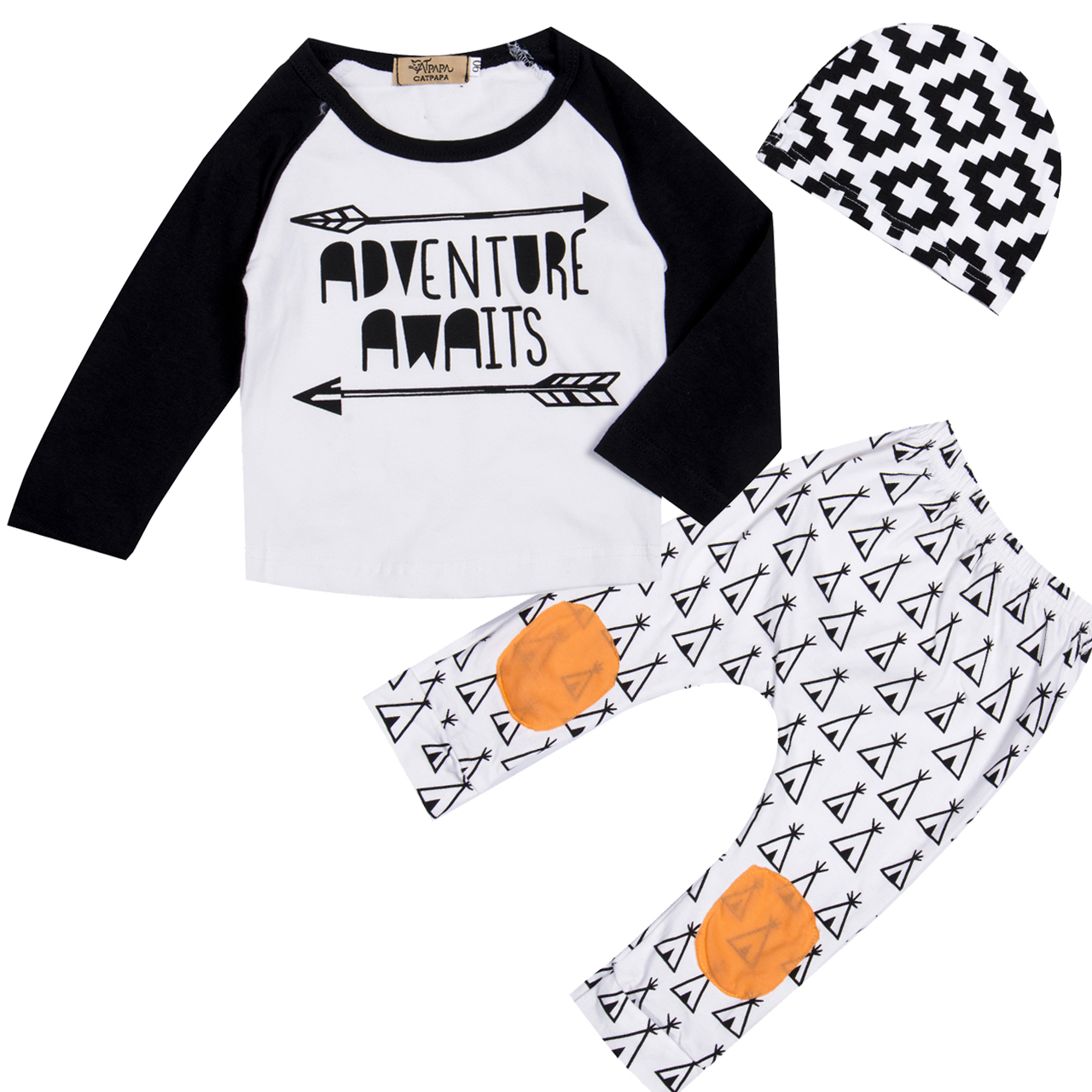 цена на 3 Pcs Newborn Kids Baby Girl Boy Letter Arrows Clothing Sets Infant Babies Long Sleeve Tops+Tents Pants+Hat Outfits Set Clothes