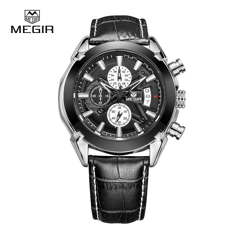MEGIR Quartz Watch Men's Chronograph Titan Watch Genuine Leather Luxury Military Watches Relogio Masculino SL2020G 2016 mne watch megir megir 6 24 relogio sl 3008