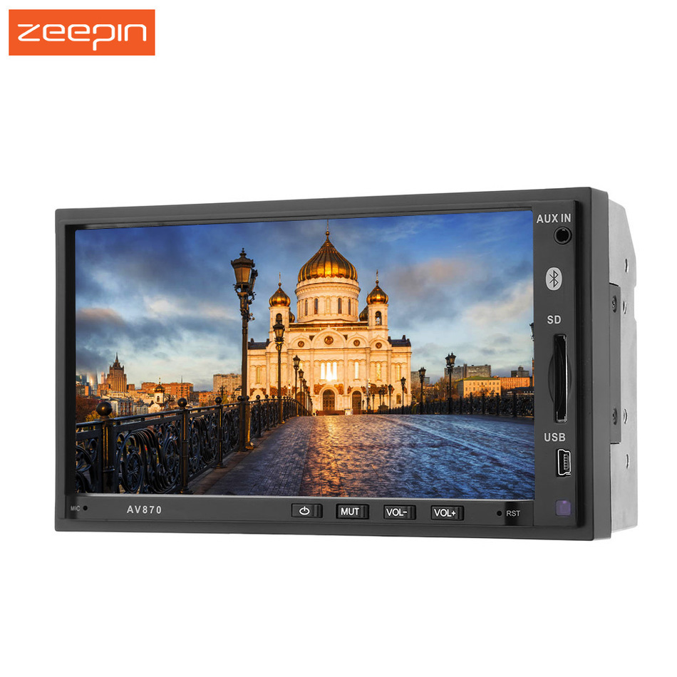 AV870B 2Din RDS Car Audio Radio Video Payer With 7 1080P HD Touch Screen Bluetooth FM RDS AUX USD SD Auto DVD Video Player