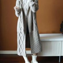 Xnxee2019 Europe Women Autumn Winter Hooded Long Knit Trench Coat Female Korean