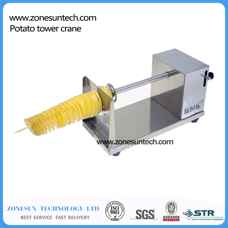 Manual Spiral Potato Tower Crane Hand Shake Potato Rotary Spiral Chips Twister Slicer Cutter Tornado Making Machine H1327 automatic electric twister tornado potato spiral curly cutter slicer machine