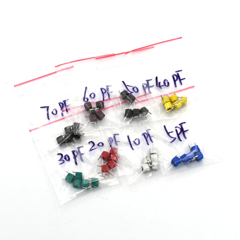 40PCS/LOT Trimmer Adjustable Capacitor Assortment Kit JML06 5pf 10pf 20pf 30pf 40pf 50pf 60pf 70pf 8value*5pcs Capacitance Set