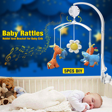 New Arrived White DIY 5 pcs/set ABS Set Baby Crib Mobile Bed Bell Toy Holder Arm Bracket Nursery Music Love Baby Rattles