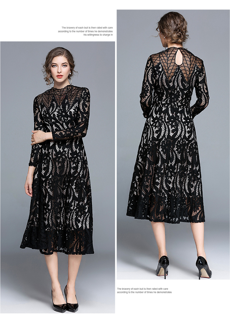 Vintage Winter Lace Dress Women Runway Design Hollow Out Crochet ...